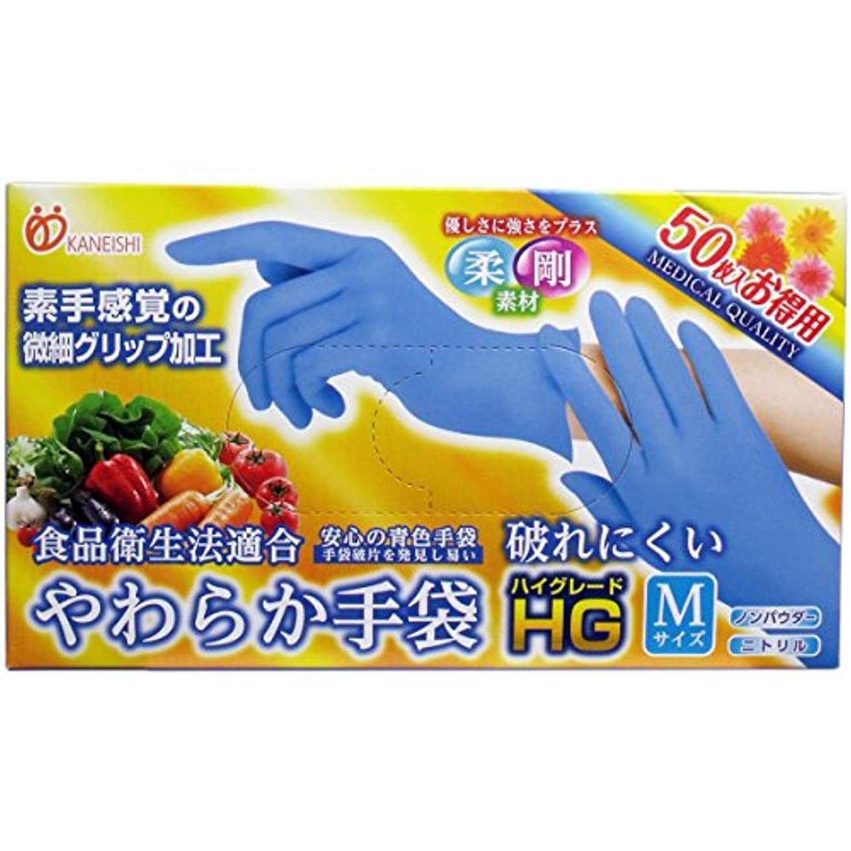 ショートカット付属品添加やわらか手袋 HG(ハイグレード) スーパーブルー Mサイズ 50枚入