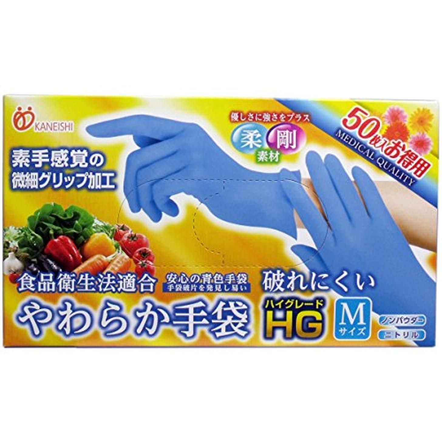 はぁ乳白色代表やわらか手袋 HG(ハイグレード) スーパーブルー Mサイズ 50枚入