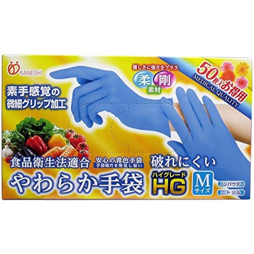 矢抑制する遅いやわらか手袋 HG(ハイグレード) スーパーブルー Mサイズ 50枚入