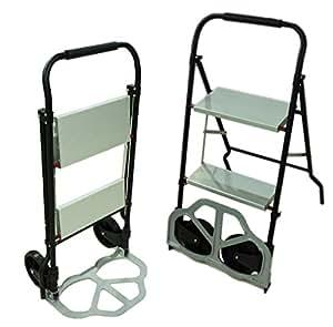 きくばり 多機能 重宝 【 一台三役! 】 椅子 + 脚立 + キャリーカート キャリーチェア 折り畳み式 耐荷重 80kg 120kg 旅行 買い物 【 2段 鉄タイプ 】