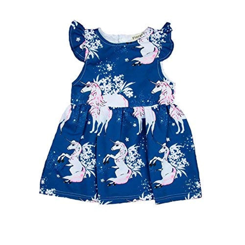 qighaima ベビー 子供 ワンピース 女の子 ガールズ 袖なし 白馬柄 かわいい おしゃれ 夏服 (90(1-2歳))100(2-3歳)