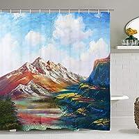 カラフルな山と青空シャワーカーテン抽象アート浴室カーテン防水風呂装飾アクセサリーフック付き 180X180 CM