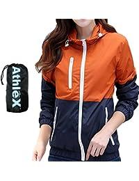 AthleX(アスレエックス) レディース ウインドブレーカー 女性 マウンテンパーカー ウィメンズ ナイロンジャケット 軽量 UV対策 ウィンドブレーカー ブルゾン ランニング ジョギング