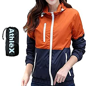 AthleX(アスレエックス) レディース ウインドブレーカー 女性 マウンテンパーカー ウィメンズ ナイロンジャケット 軽量 UV対策 ウィンドブレーカー ブルゾン ランニング ジョギング (オレンジ, XS)