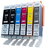 ZAZ BCI-351XL+350XL/6MP canon 互換インク ICチップ付 残量表示可能 BCI-351+350/6MP の増量版 6色セット FFPパッケージ(J)