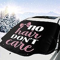 WBDLJHA車用サンシェード No Hair Don't Care Logo フロントガラス 日よけ- 紫外線を遮断するサンバイザープロテクター、サンシェードはあなたの車を涼しく保ちます、ミラー・ポケット・フィットセダンとハッチバック(147*118cm)