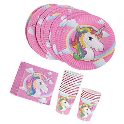 KOZEEY ユニコーン ナプキン 20枚 ペーパープレート 10枚 紙コップ 10個 かわいい 使い捨て ピンク パーティー 誕生日 記念日