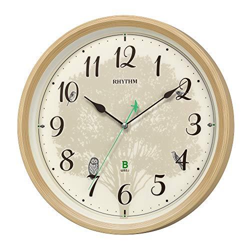 リズム時計工業(Rhythm) 掛け時計 薄茶 Φ33.6x6.1cm 電波 アナログ 連続秒針 メロディ 日本野鳥の会 共同開発 8MN409SR06