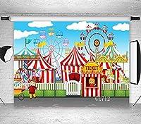 LBサーカスカーニバルパーティーバックドロップの写真7x 5ftビニール観覧車テントサーカスStratus Playground子ベビーシャワー誕生日パーティー装飾写真背景スタジオ小道具