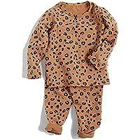 LUKEEXIN Spring Autumn Baby Boys Girls Pajamas Set 18M-8yrs Children Kids Print Leopard Sleepwear Lounge Wear Cotton