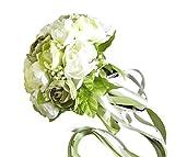 (ジェイビーエス)JBS ウェディングブーケ ブライダル フラワー 結婚式 花嫁 披露宴 バラ 花束 (ホワイト&グリーン)