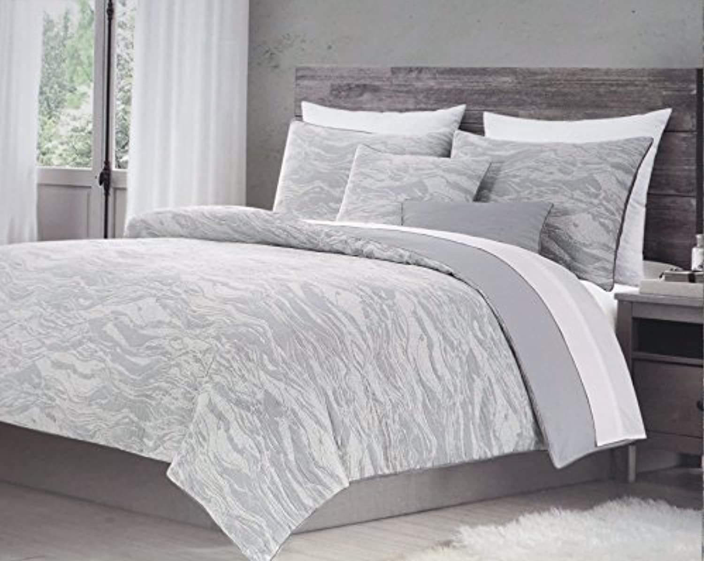 羽毛布団カバーセット、3ピースクイーンサイズWavy Geometric Jacquard Texturedパターングレーでタンメタリック、Harlow寝具