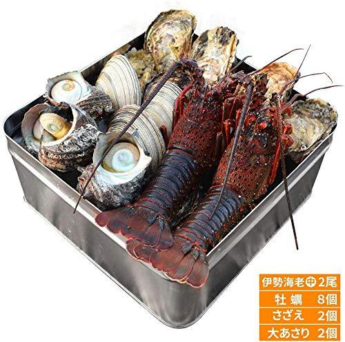 美し国 豪華 冷凍 海鮮 海宝焼 伊勢海老中2尾 鳥羽産 牡蠣 8個 さざえ 2個 大あさり 2個 ( 牡蠣ナイフ、片手用軍手付 ) 冷凍 海鮮 セット カンカン焼き ミニ缶入 海鮮 バーベキュー セット BBQ