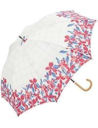 レディース?ウィメンズ 晴雨兼用 長傘 ブルーミーチェック 47cm 手開き傘 水彩 花柄