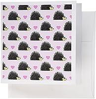 Janna Salakデザインウッドランドの生き物–かわいいハリネズミとハートピンク印刷–グリーティングカード Set of 12 Greeting Cards