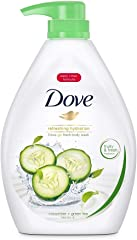 Dove Go Fresh Cucumber and Green Tea Paraben-Free Body Wash, 1L