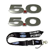 新しい1pcsフォードKeychain Lanyardバッジホルダー+ 2個セット5.0Emblemsフェンダー3dロゴFit For Ford Mustang