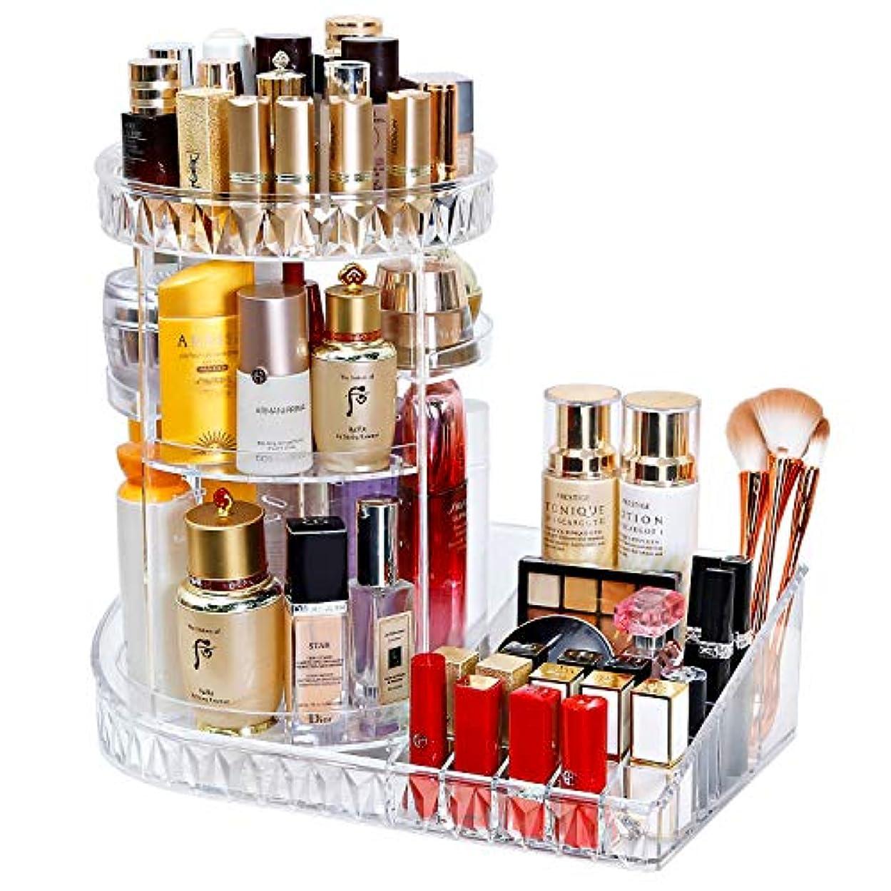 メロドラマティックラインリファイン化粧品収納ボックス コスメ収納 メイクボックス 360°回転式 大容量 高さ調整可能 リップスタンド 口紅 収納 香水入れ 透明ケース 取り組み簡単 2イン1 L型デザイン