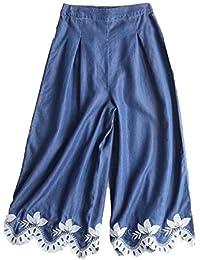 (ニカ) レディース ワイドパンツ デニムパンツ 春 夏 無地 シンプル ウエスト 9分丈 パンツ 薄手 軽量 デニムパンツ ワイドパンツ