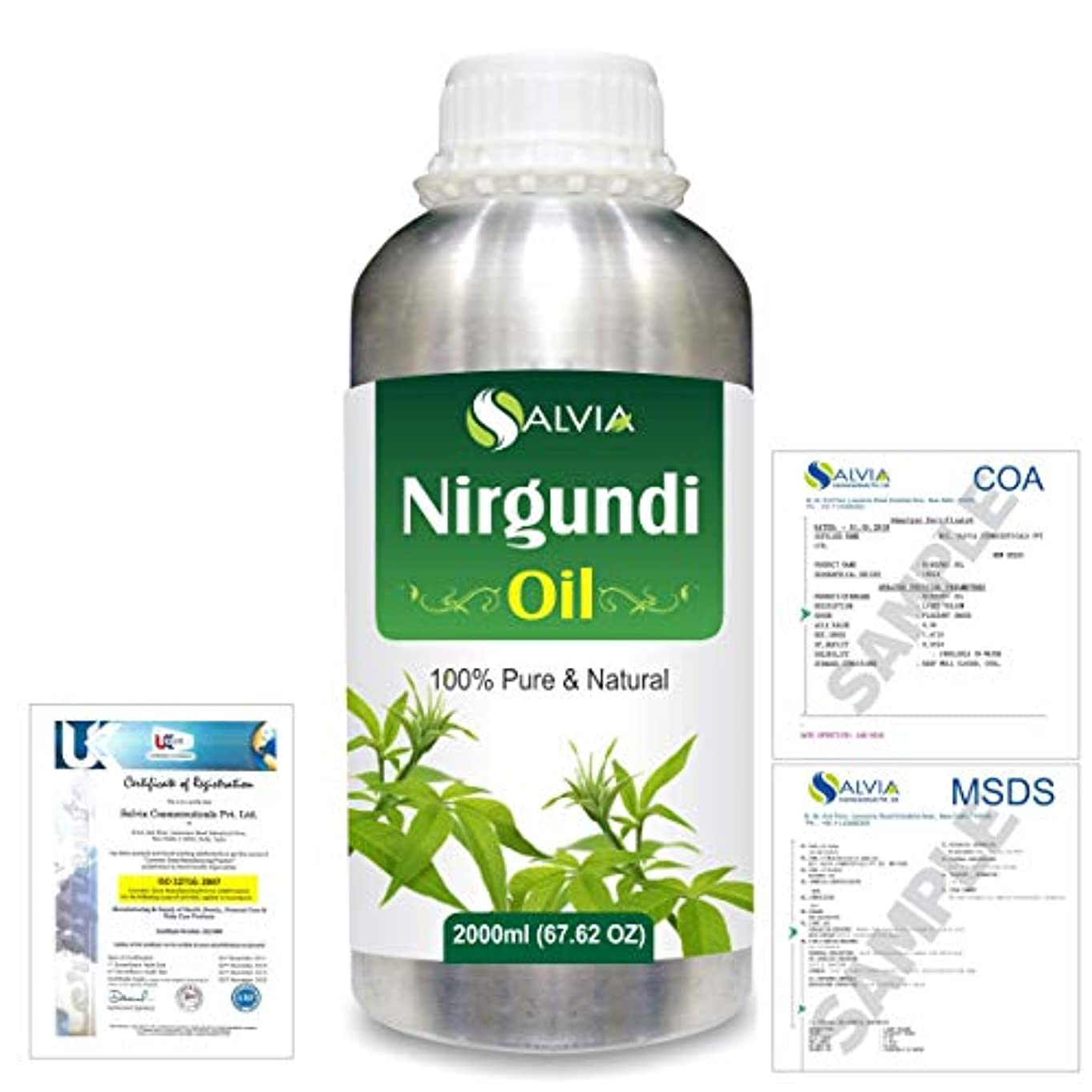 目の前の予報最大Nirgundi (Vitex negundo) 100% Natural Pure Essential Oil 2000ml/67 fl.oz.