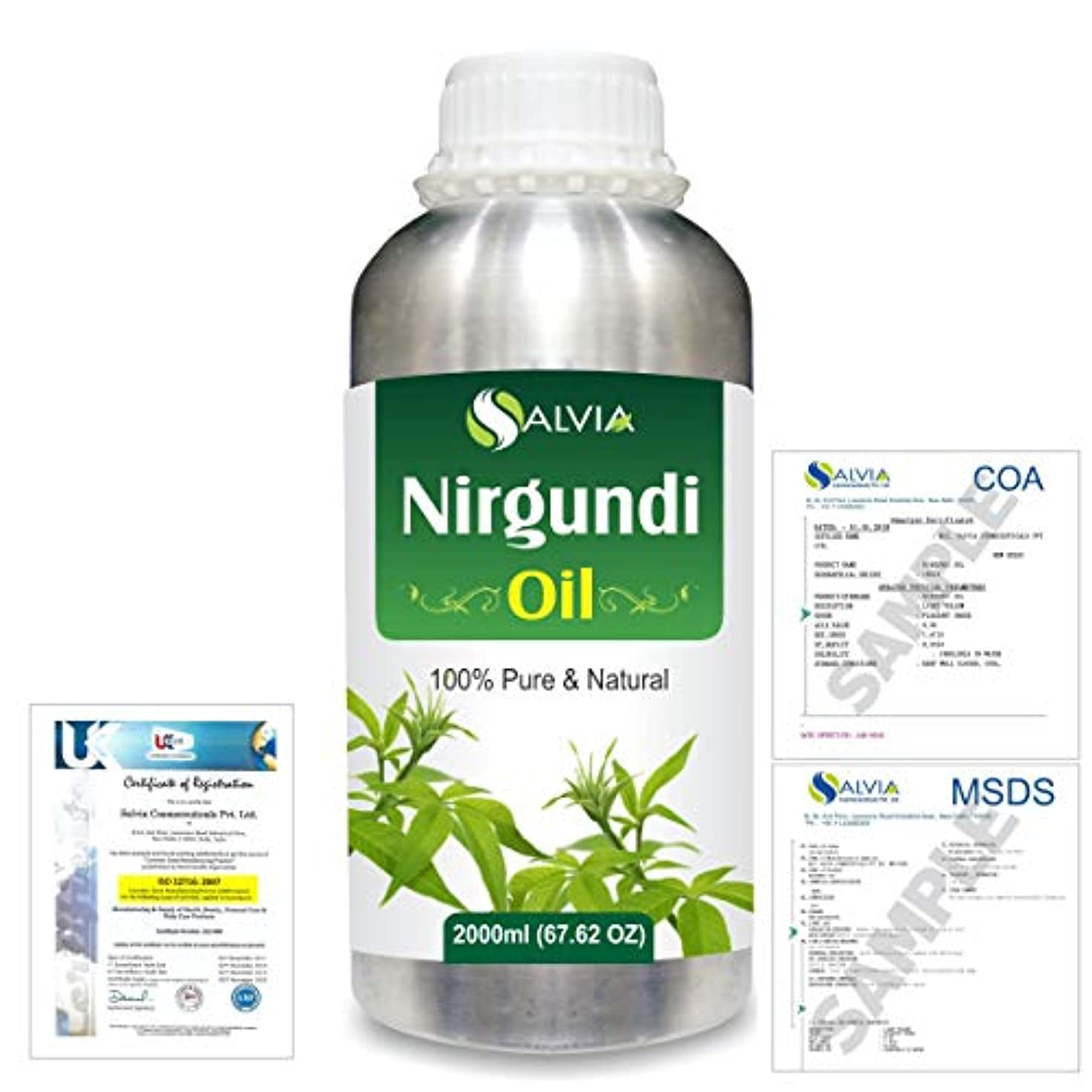 世界的にエイリアス教Nirgundi (Vitex negundo) 100% Natural Pure Essential Oil 2000ml/67 fl.oz.