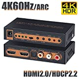 BLUPOW 4K60Hz HDMI2.0 音声分離器 HDCP2.2 HDR対応 HDMI 分離 音声 (SPDIF光デジタル・同軸・R/Lアナログ音声出力) hdmi オーディオ 分離器 2160P 3D ARC対応 Fire TV・Apple TV・PS4pro・Xbox・Blu-ray Playersなど対応 hdmi 光デジタル 分離