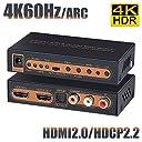 BLUPOW 4K60Hz HDMI2.0 音声分離器 HDCP2.2 HDR対応 HDMI 分離 音声 (SPDIF光デジタル 同軸 R/Lアナログ音声出力) hdmi オーディオ 分離器 2160P 3D ARC対応 Fire TV Apple TV PS4pro Xbox Blu-ray Playersなど対応 hdmi 光デジタル 分離