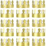 Jovitec 24ピース ゴールデンキングクラウン ゴールドホイルペーパー パーティー クラウンハット キャップ 誕生日 お祝い ベビーシャワー 写真小道具