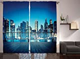 Cityscape Scenery Decor Artwork Curtains by Ambesonne New York Skyline Harlem Nights Manhattan Skyscrapers Window Drapes 2 Panel Set for Living Room Bedroom 108 W X 90 L Inches Blue and Cream【クリスマス】【ツリー】 [並行輸入品]