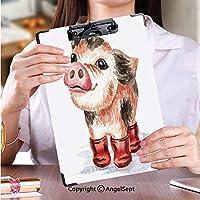 カスタム クリップボード クリップファイル 答案用紙入れ秋の小さなかわいい面白いティーカップミニ豚ゴム長靴水彩手描きイラスト、白い背景で隔離 (1個)
