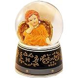 20036 【Minium Collection】 Snowdome ミュージカルスノーグローブ。オレンジ。天使。【直径】10cm