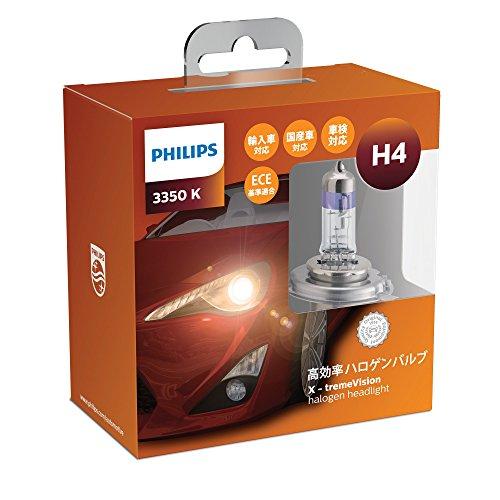 PHILIPS(フィリップス)  ヘッドライト ハロゲン バルブ H4 3350K  12V 60/55W エクストリームヴィジョン X-tremeVision 輸入車対応 2個入り XV-H4-1