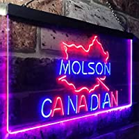 Molson Canadian Beer Bar LED看板 ネオンサイン バーライト 電飾 ビールバー 広告用標識 ブルー+レッド W30cm x H20cm