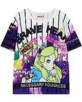 (シーファニー)Cfanny レディース 可愛い 原宿風 ガール 95 英字 カートン パンク プリント アメカジ ゆったり デザイン ボーダー おしゃれ 半袖 Tシャツ