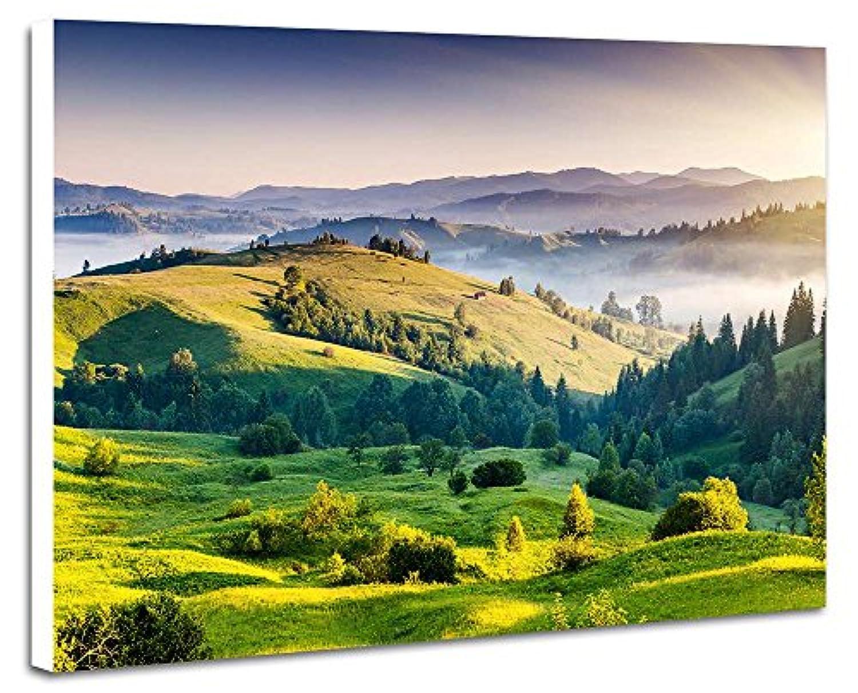 山、日の出 - (N001) - 自然 風景 壁掛け式の装飾画 印刷の絵 ポスター(35cmx50cmx2.5cm)