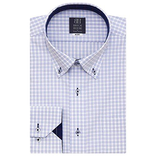 BRICK HOUSE 長袖 ワイシャツ 形態安定 ショート ドゥエボットーニ ボタンダウン 白×サックスチェック BXLV24617F-10 ブルー M-80