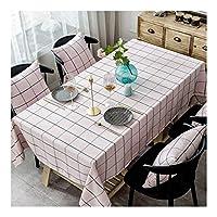 テーブルクロス 長方形 リビングルームのテーブルコーヒーテーブルなどに適したモダンなシンプルなコットンリネンテーブルクロスホテルホーム長方形のピンクの格子縞のテーブルクロスをきれいにするのは簡単。 (Size : 110*170cm)