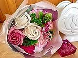 フレグランス シャボンフラワー ソープフラワー 薔薇 枯れない 花 ブーケ プレゼント 花束 母の日 父の日 出産祝い 結婚祝い お見舞い 誕生日 石鹸 香り ギフト お祝い ラッピング 包装 ギフトバック付き (ピンクブーケ)