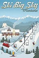 ビッグスカイ、モンタナ州–レトロSki Resort 12 x 18 Signed Art Print LANT-50924-708
