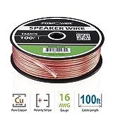 FosPower 16AWG 純銅 高純度OFC スピーカーケーブル / スピーカーワイヤー【16ゲージ | 30メートル】アンプやA / Vレシーバにオーディオスピーカーを接続