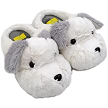 Millffy 2019 New Adult Sized Animal Slippers Fuzzy Schnauzer Dog Slippers Unisex Non-Slip Warm Plush Slippers