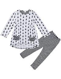 OKIDSO 女の子 子供服 シャツ ズボン 上下 2点セット 長袖 ストライプ 普段着 旅行用 春秋 綿100% 吸汗 青/白 100/110/120/130CM