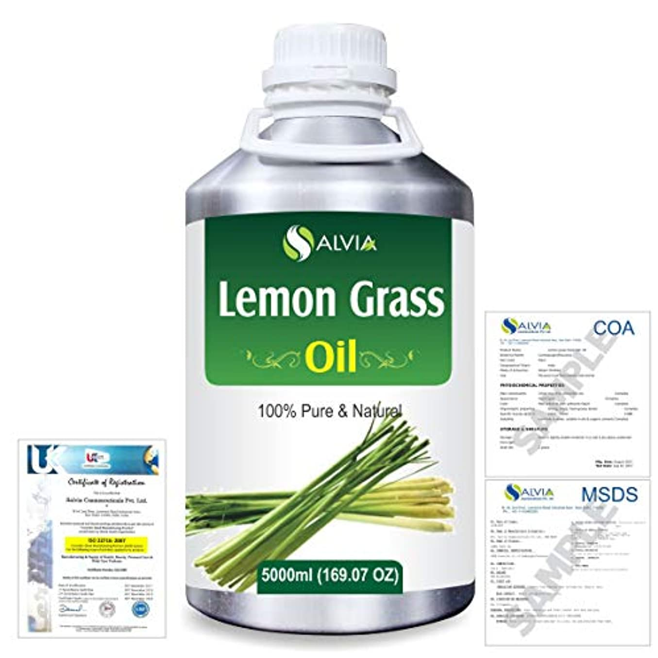 Lemon Grass (Cymbopogon citrates) 100% Natural Pure Essential Oil 5000ml/169fl.oz.