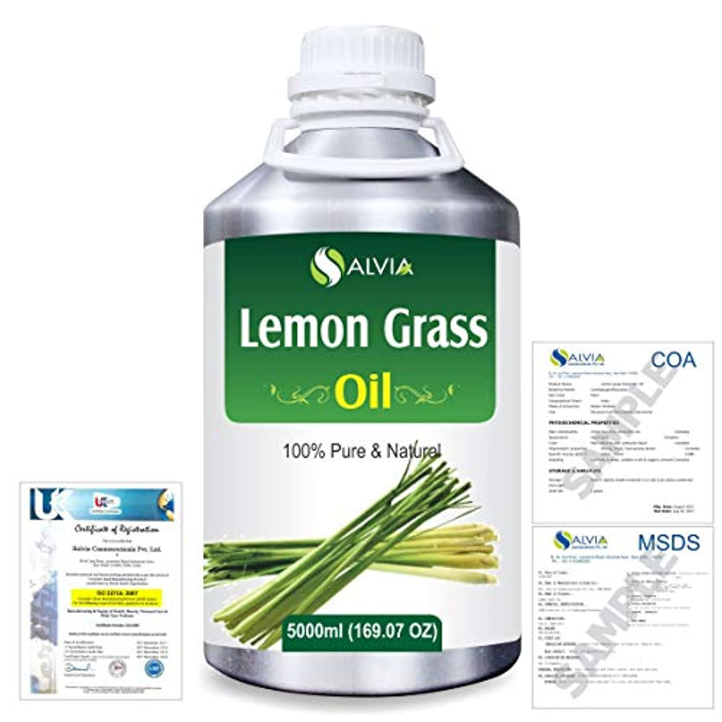 著作権空人差し指Lemon Grass (Cymbopogon citrates) 100% Natural Pure Essential Oil 5000ml/169fl.oz.