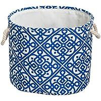 大きなポータブルランドリーバスケットコットンリネン折り畳み式汚れたハンパー服雑貨の収納バスケットブルー (サイズ さいず : 40 * 30 * 35cm)