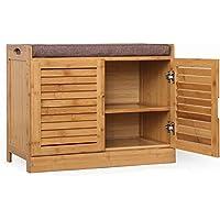 DULPLAY 竹靴ラック,木材 シューズ キャビネット,マルチ-層 靴ベンチ 無垢材 な ベッド 関数を組み立てる,通路棚-I