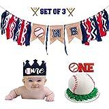 3イン1セット:野球1歳の誕生日デコレーションセット-野球黄麻布バナー1つ-野球フェルトクラウン-キラキラ光る赤い野球ケーキトッパー-1年前のスマッシュケーキ-初めての誕生日-ケーキスマッシュデコレーション写真