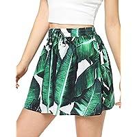 Floerns Women's Tie Bow Floral Print Summer Beach Elastic Shorts