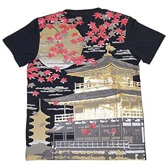 JAPAN 日本 金閣寺 和柄 半袖 プリント Tシャツ メンズ t215322 (L, ブラック)