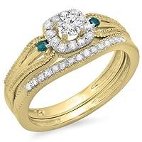 0.50カラットCTW10Kゴールドホワイト&ブルーダイヤモンドヘイロースタイル婚約リングwith Matchingバンドセット1/ 2ct